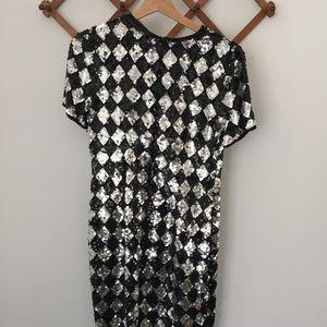 Vintage A.J. Bari Sequin Diamond Dress 8 Silk